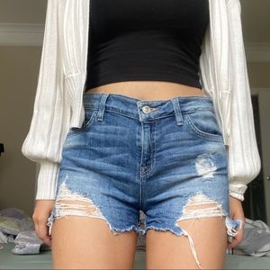 GUESS High Rise Distressed Stretchy Denim Shorts